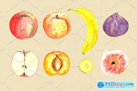 Creativemarket Watercolor Juicy Fruit Clip Art Set