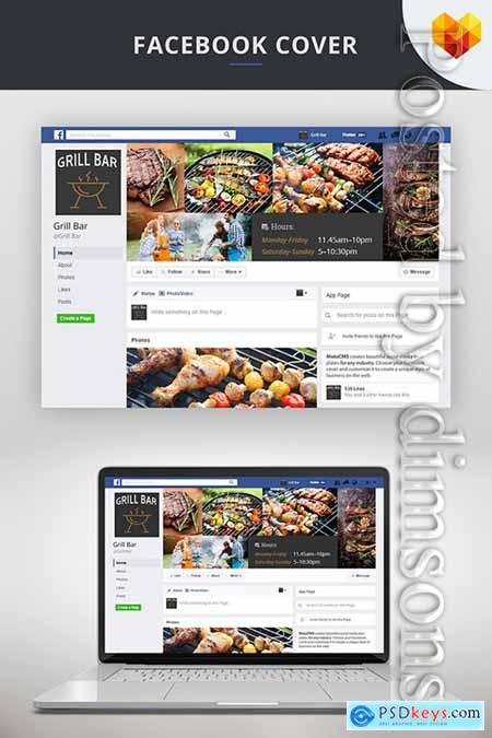 Facebook Cover Picture and Avatar For Grill Bar Social Media