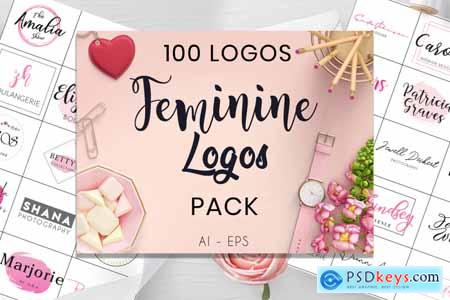 Creativemarket 100 Feminine Logos