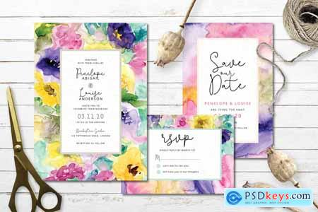 Creativemarket Abstract Floral Wedding Invitation