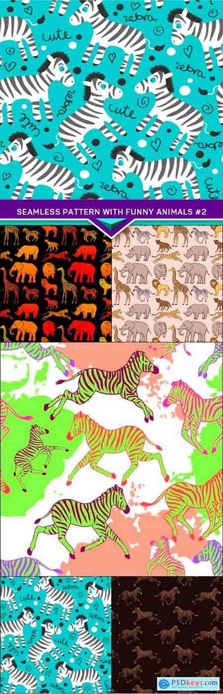 Seamless pattern with funny animals #2 5X EPS