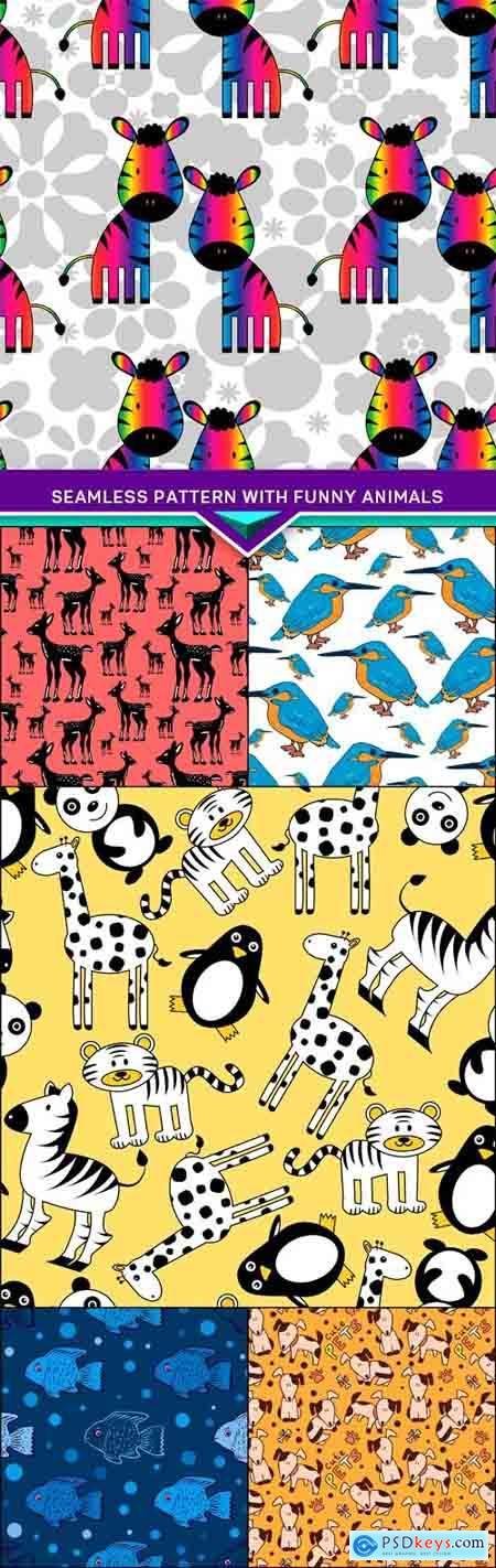 Seamless pattern with funny animals 6X EPS