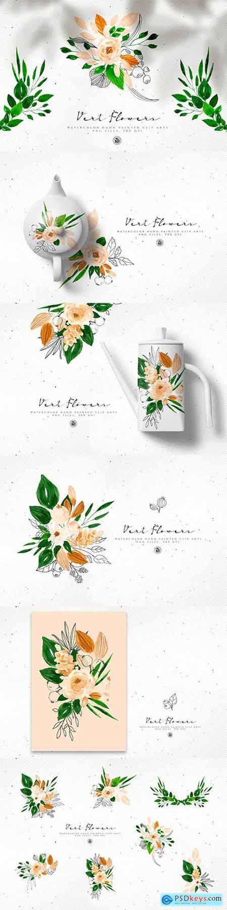 Vert Watercolor Flowers