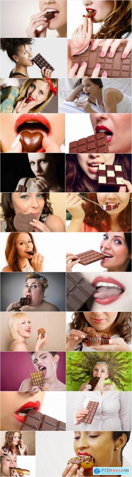 Woman eating chocolate sweetness 25 HQ Jpeg