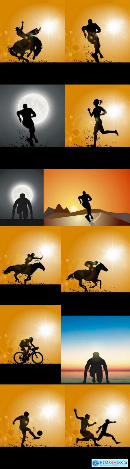 Sport football running horse racing 12 EPS