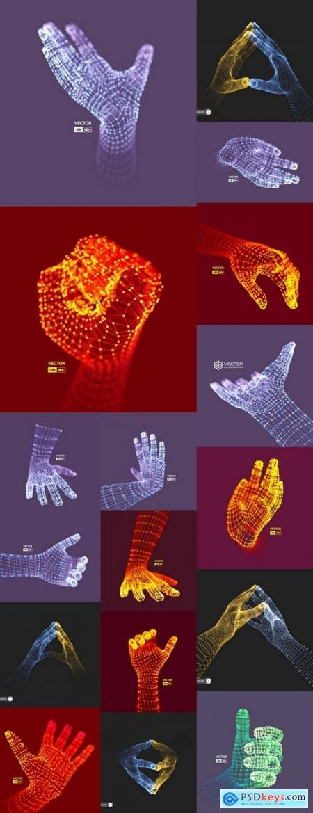 Hand fist gesture 3d 15 EPS