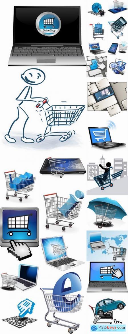 Shopping cart online shopping laptop tablet computer network 25 EPS