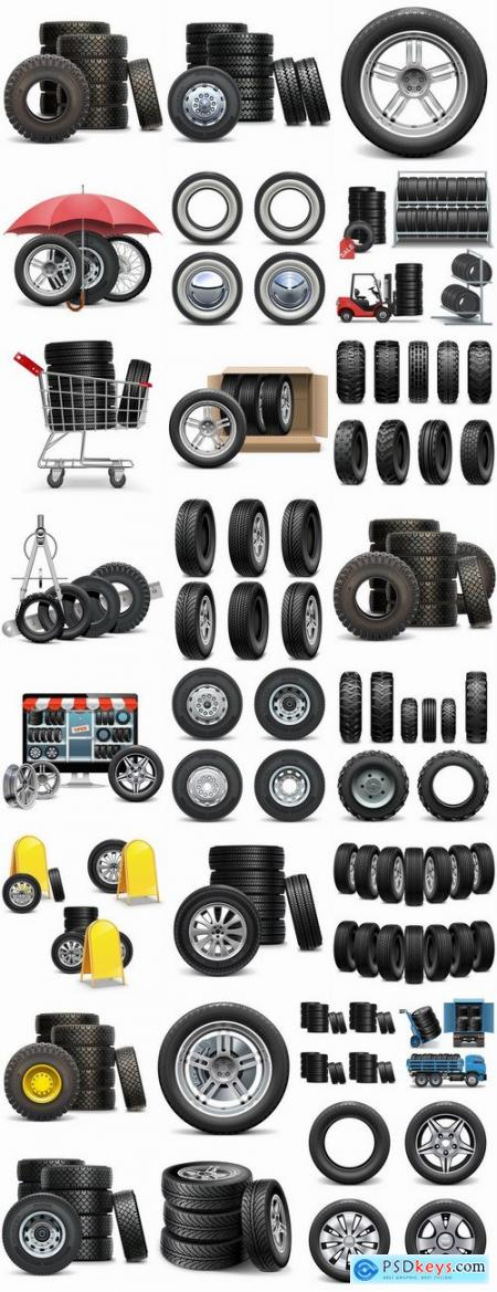 Tire rubber tire tread vector image 25 EPS