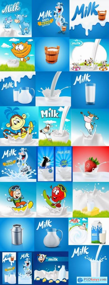 Fruit milk cow vector image 25 EPS