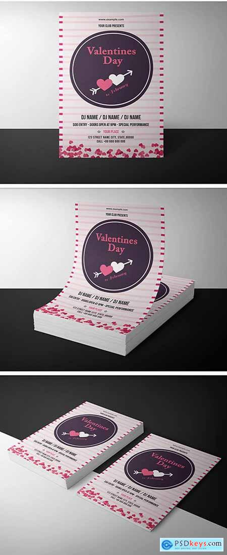 Valentines Day Invitation Layout With Pink Stripes Free Download