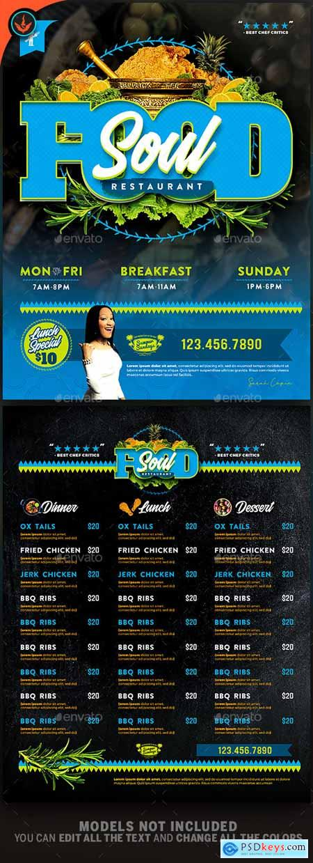 Graphicriver Soul Food Restaurant Menu Flyer Template