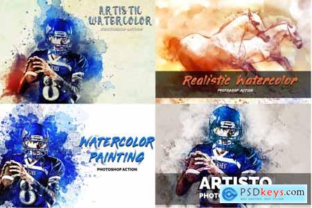 Creativemarket 4 in 1 Watercolor Pack Photoshop Actions