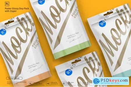 Creativemarket Glossy Doy-Pack with Zipper Poster Mockup