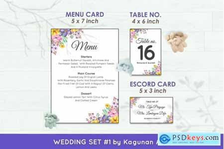 Creativemarket Wedding Invitation Set #1 Hand Painted Watercolor Floral Flower Style