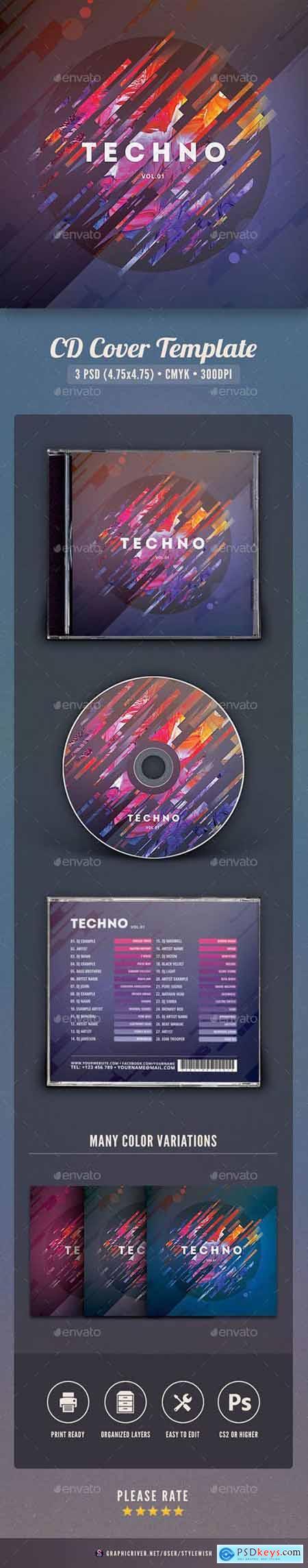 Graphicriver Techno CD Cover Artwork