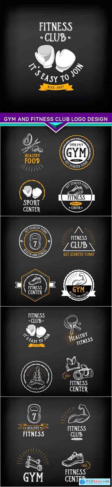 Gym and fitness club logo design, sport badge 5X EPS