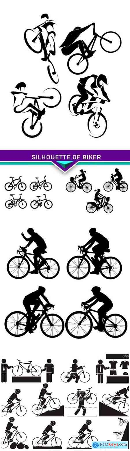 Silhouette of Biker 5X EPS