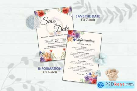 Creativemarket Wedding Invitation Set #10 Hand Painted Watercolor Floral Flower Style