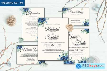 Creativemarket Wedding Invitation Set #9 Hand Painted Watercolor Floral Flower Style