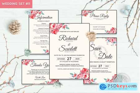 Creativemarket Wedding Invitation Set #11 Hand Painted Watercolor Floral Flower Style