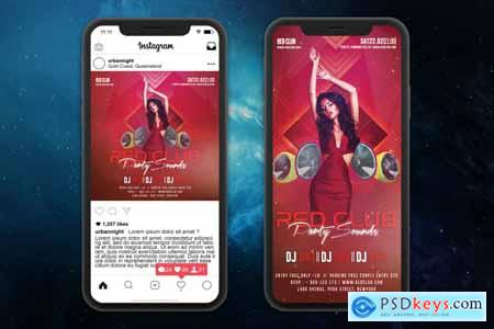 Creativemarket Red Club Party Sounds Flyer Template