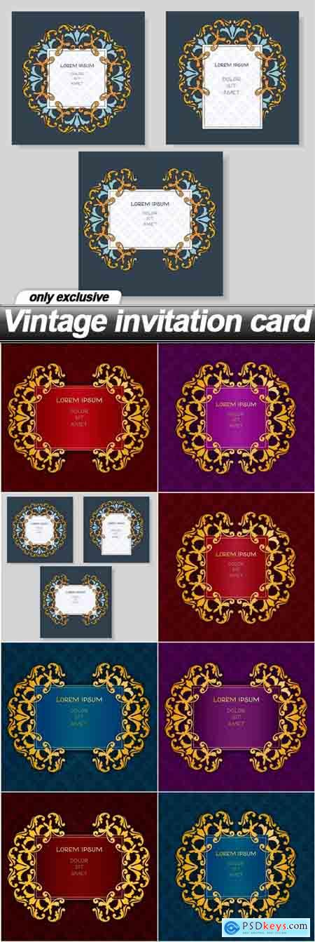 Vintage invitation card - 8 EPS