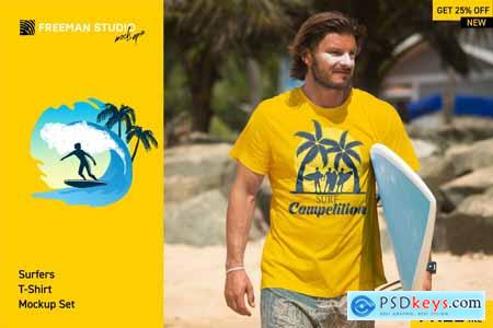 Creativemarket Surfers T-Shirt Mock-Up Set