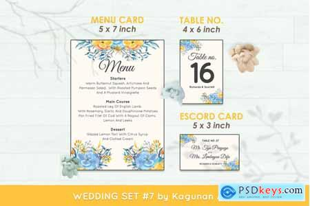 Thehungryjpeg Wedding Invitation Set #7 Hand Painted Watercolor Floral Flower Style