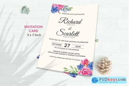 Thehungryjpeg Wedding Invitation Set #8 Hand Painted Watercolor Floral Flower Style