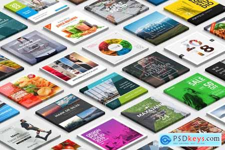 Creativemarket 3D Square Card Mock-up PSD