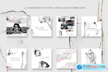 Creativemarket ANIMATED Instagram posts -Watercolor