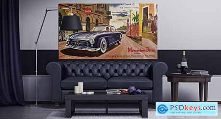 Poster in the Chesterfield Interior Mockup