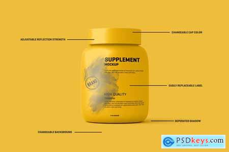 Creativemarket Supplement Protein Jar Label Mockup