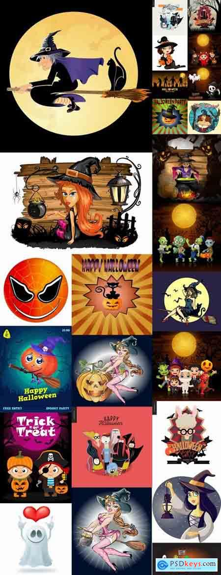 Cartoon halloween costume thanksgiving day vector image 25 EPS