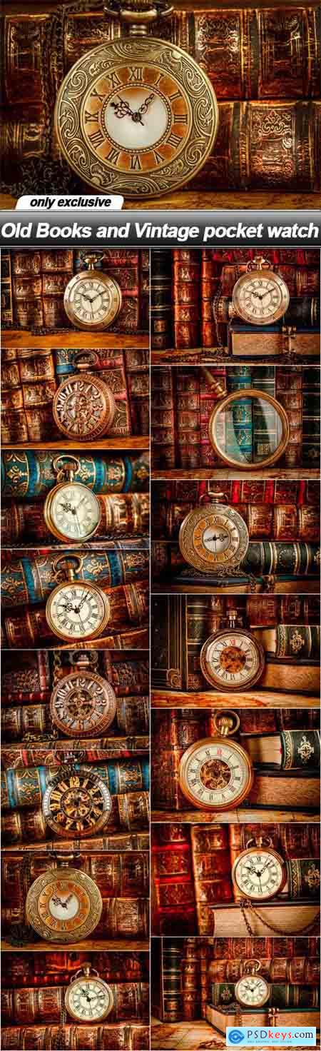 Old Books and Vintage pocket watch - 15 UHQ JPEG