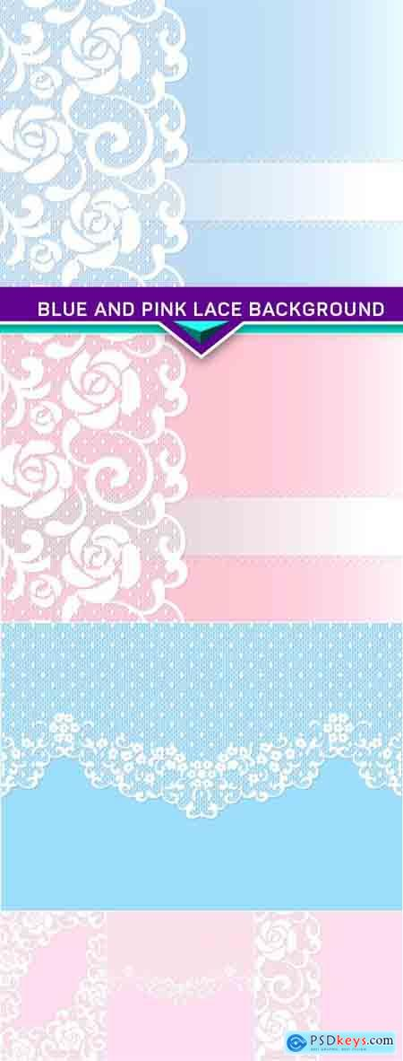 Blue and pink lace background 6X EPS