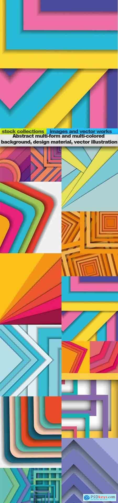 Abstract multi-form and multi-colored background, design material, vector illustration, 15 x EPS