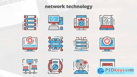 Videohive Network Technology – Thin Line Icons Free
