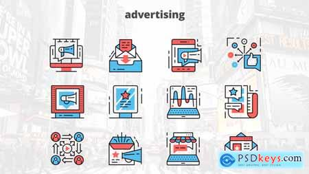 Videohive Advertising – Thin Line Icons Free