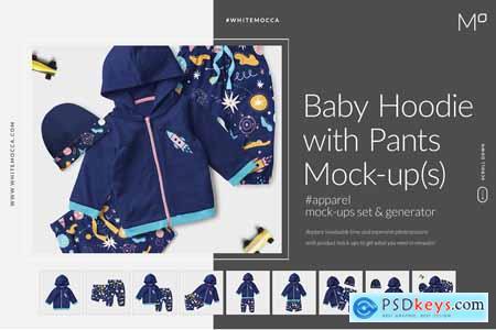 Baby Hoodie, Cap &Pants Mock-ups Set