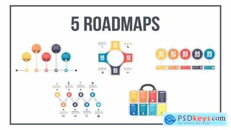Videohive 5 Roadmaps Templates - Set One Free