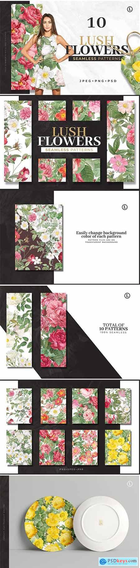10 Colorful Flower Patterns » Free Download Photoshop Vector