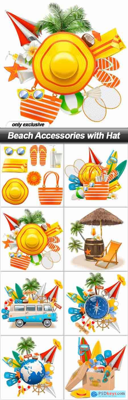 Beach Accessories with Hat - 8 EPS