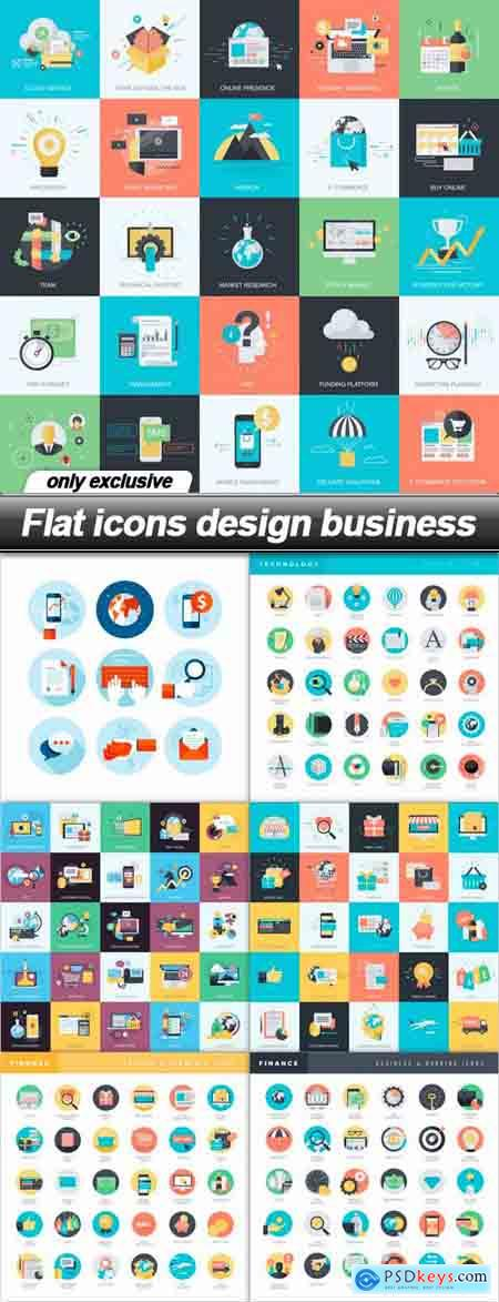 Flat icons design business - 7 EPS