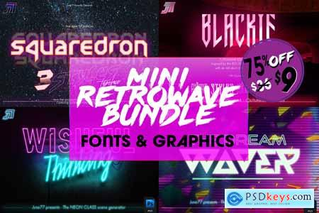 Retrowave Bundle of Fonts & Graphics