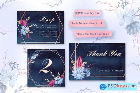 Navy Watercolor Wedding Invitations