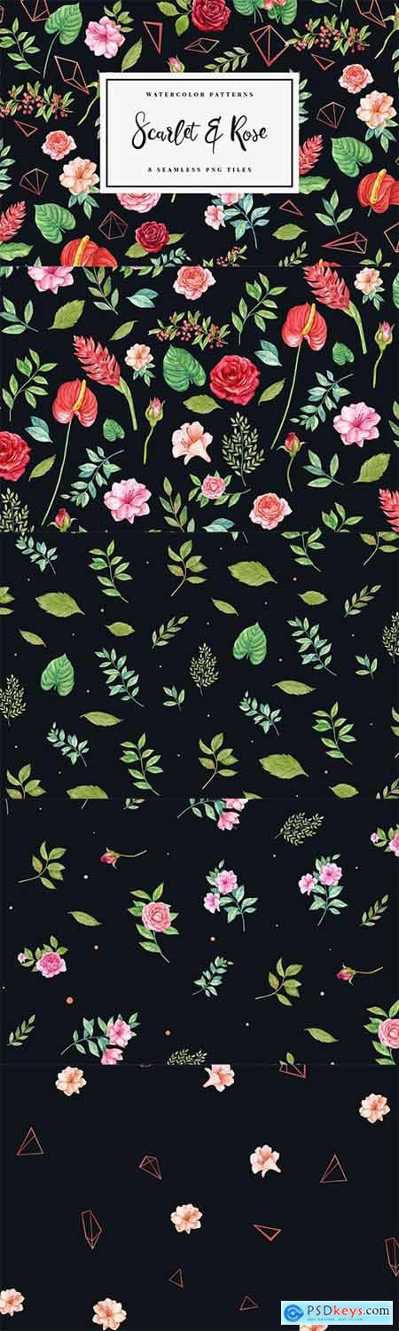 Scarlet & Rose - Seamless Patterns