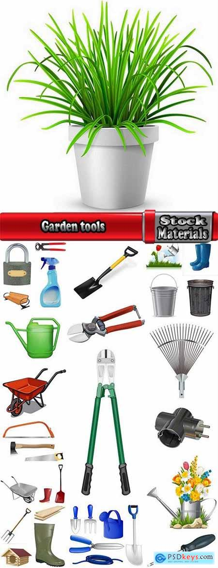 Garden tools shovel rake fork wheelbarrow garden shears 25 EPS