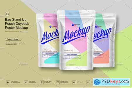 Stand Up Pouch Doypack Poster Mockup