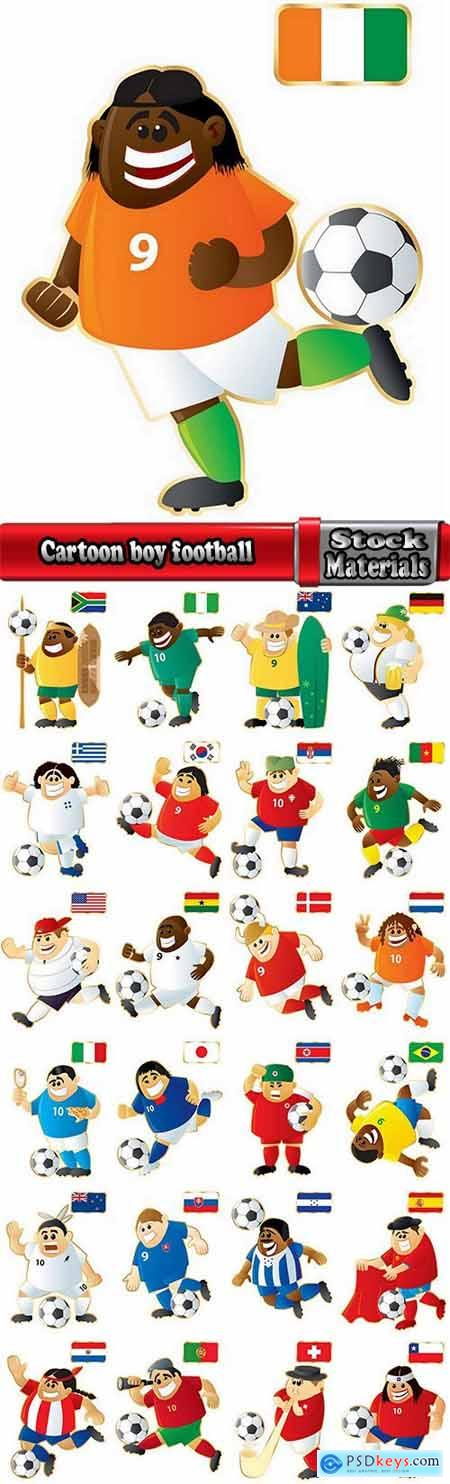 Cartoon boy football footballer different countries vector image 25 EPS